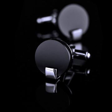 Piano Black Circular Cufflinks