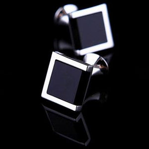 Squared Piano Black Cufflinks