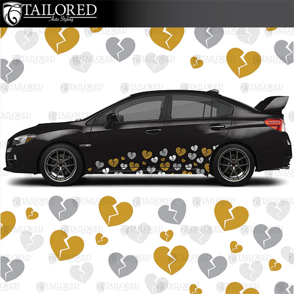 Broken HEart DIY Liuvery kit is multiple sizes of individual hearts that you can lay out how ever you see fit on your own vehicle.