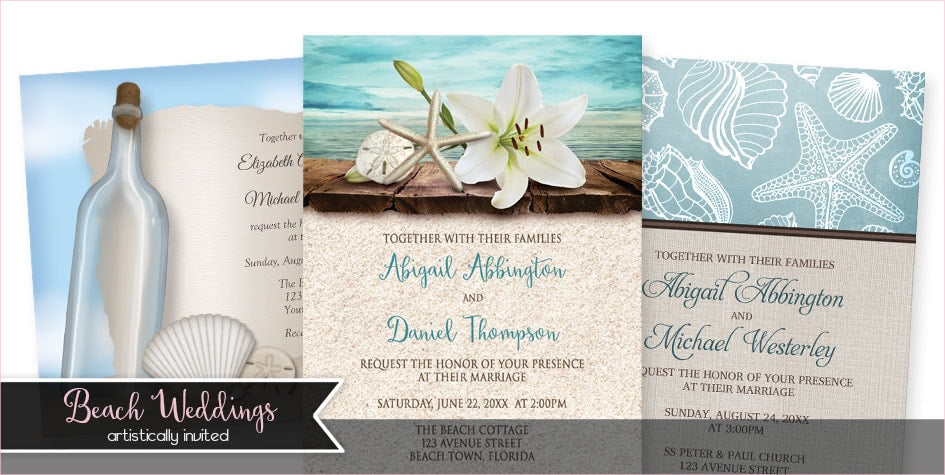 Beach Wedding Invitations from Artistically Invited