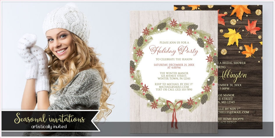 Rustic Seasonal Invitations - Artistically Invited