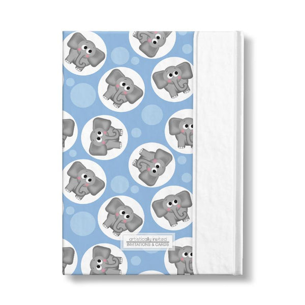 "Adorable Elephant Pattern Blue Personalized 5"" x 7"" Journal at Artistically Invited"