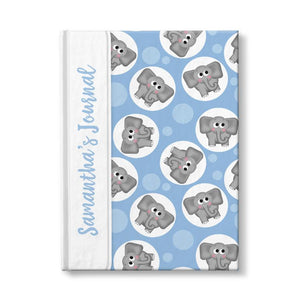 Personalized Cute Blue Elephant Journal at Artistically Invited