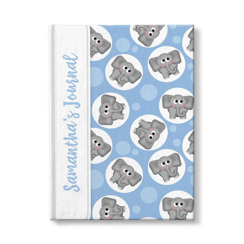 Elephant Journal - Cute Elephant Blue Personalized 5 x 7 Journal at Artistically Invited