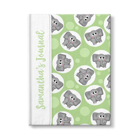 "Adorable Elephant Pattern Green Personalized 5"" x 7"" Journal at Artistically Invited"