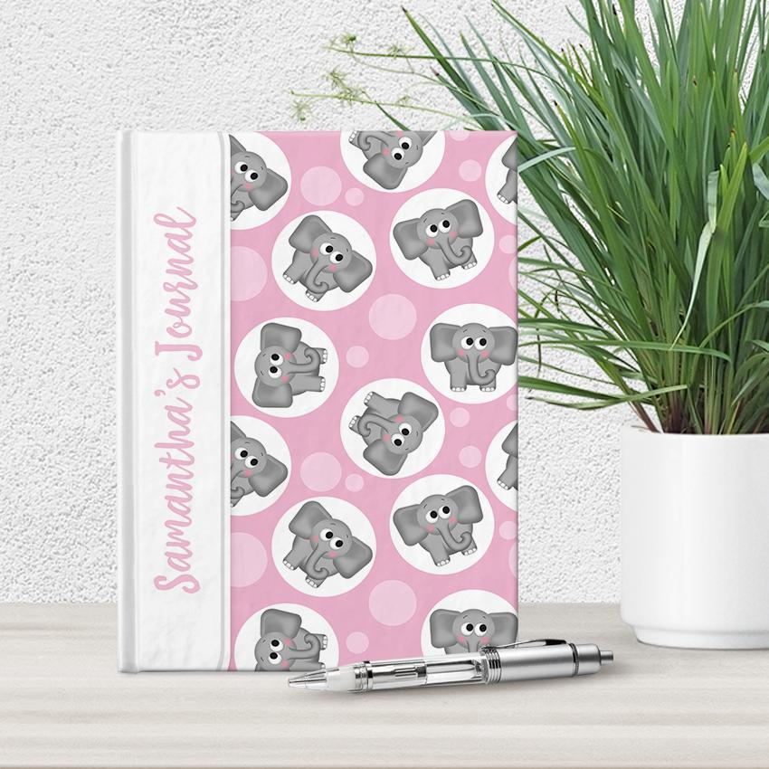 Personalized Cute Pink Elephant Journal at Artistically Invited