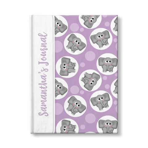"Adorable Elephant Pattern Purple Personalized 5"" x 7"" Journal at Artistically Invited"