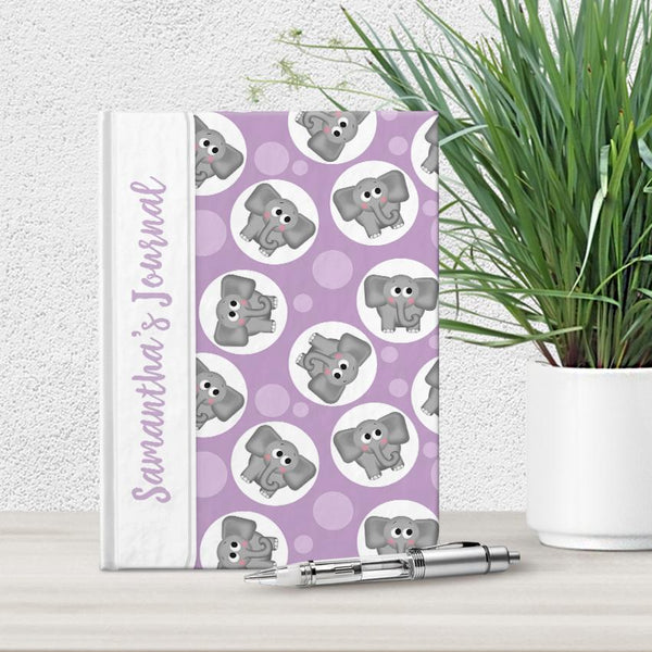 Personalized Cute Purple Elephant Journal at Artistically Invited