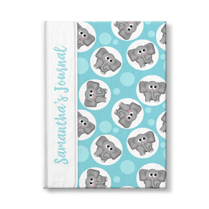 "Turquoise Elephant Journal - Cute Elephant Turquoise Personalized 5"" x 7"" Journal at Artistically Invited"