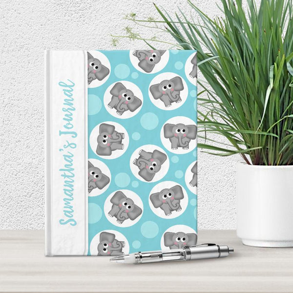 Personalized Cute Turquoise Elephant Journal at Artistically Invited