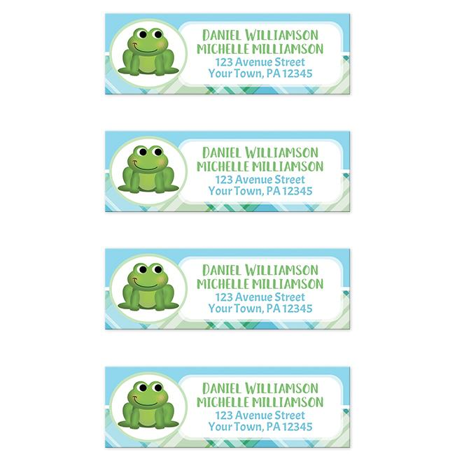 cute frog green and blue plaid return address labels online at