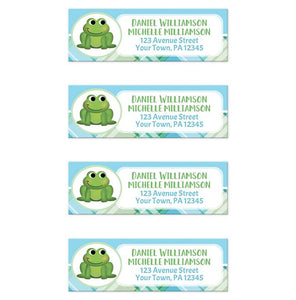 Frog Address Labels - Cute Frog Green and Blue Plaid Return Address Labels at Artistically Invited
