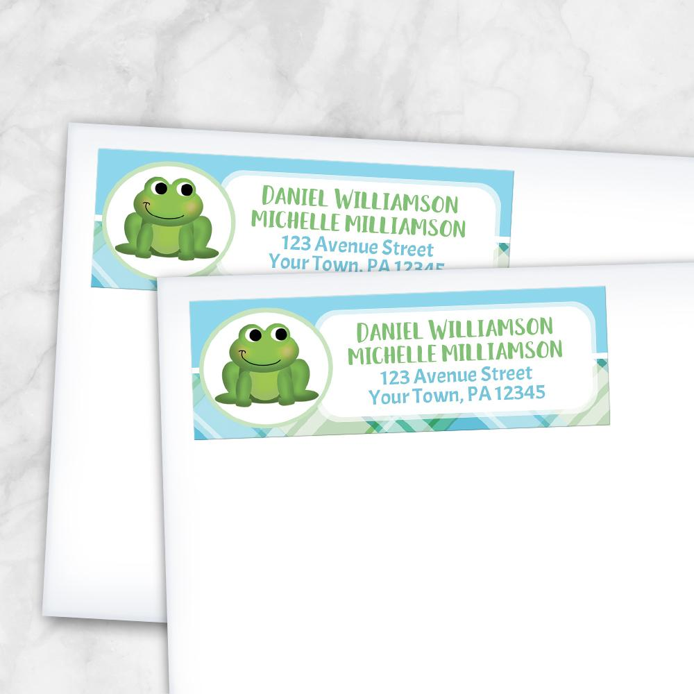 Cute Frog Green and Blue Plaid - Frog Address Labels at Artistically Invited