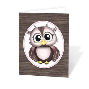 Owl Note Cards - Adorable Owl Pink and Brown Note Cards at Artistically Invited