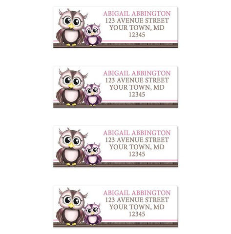 Adorable Pink Owl and Purple Baby Owl Address Labels