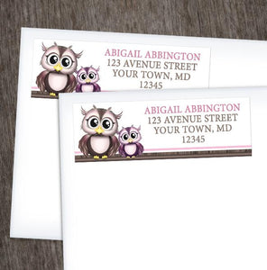 Owl Address Labels - Adorable Pink Owl and Purple Baby Owl Address Labels at Artistically Invited