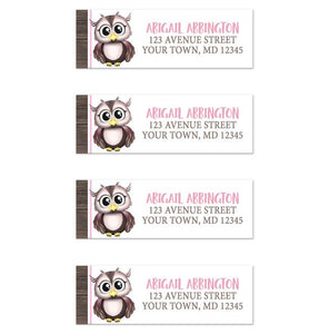 Owl Address Labels - Adorable Pink and Brown Owl Address Labels at Artistically Invited