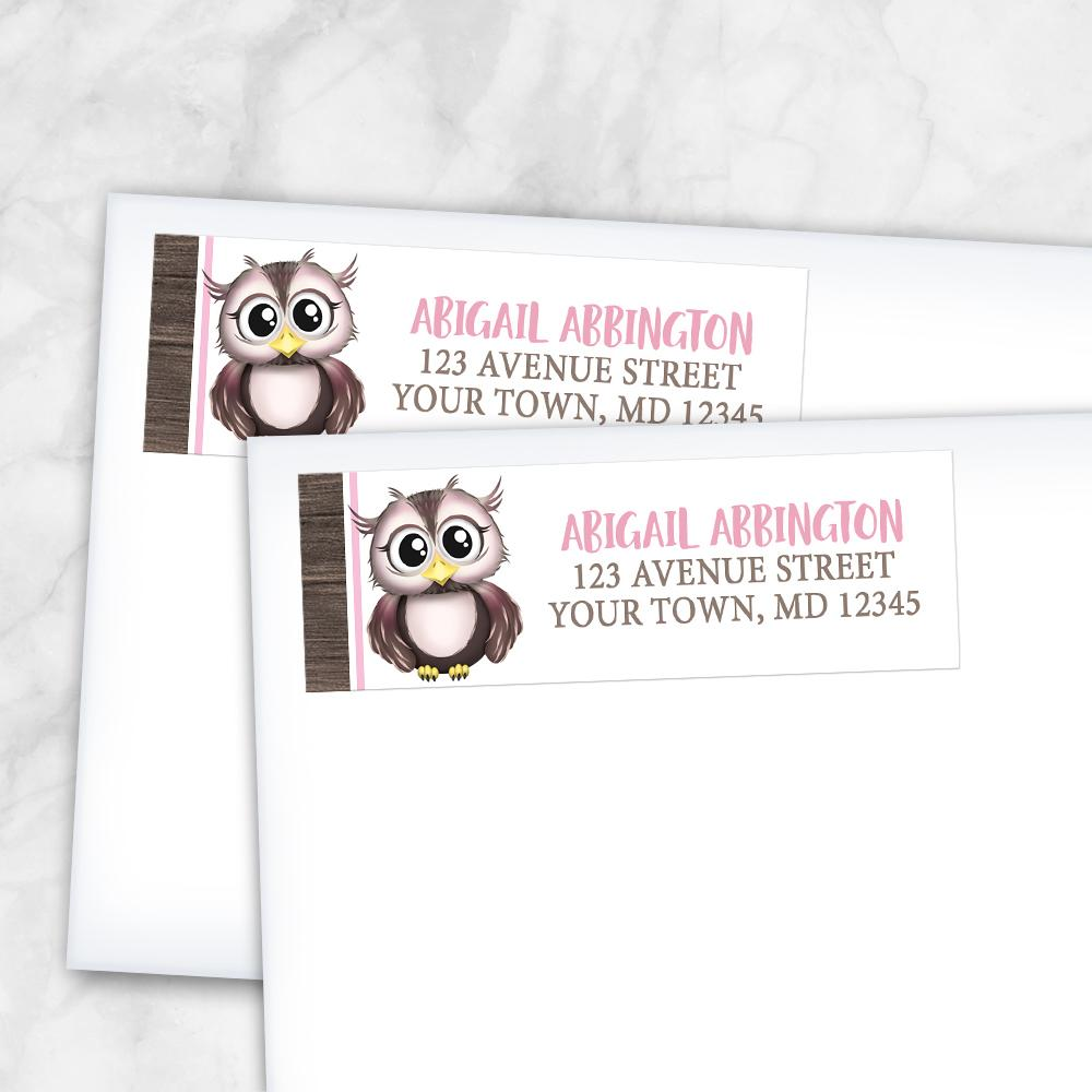 Adorable Pink and Brown Owl Address Labels at Artistically Invited