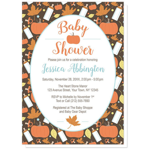 Autumn Baby Pumpkin Pattern Baby Shower Invitations at Artistically Invited