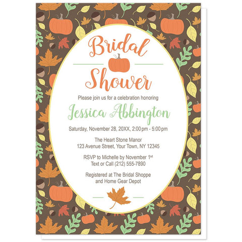 Autumn Pumpkins and Leaves Pattern Bridal Shower Invitations at Artistically Invited