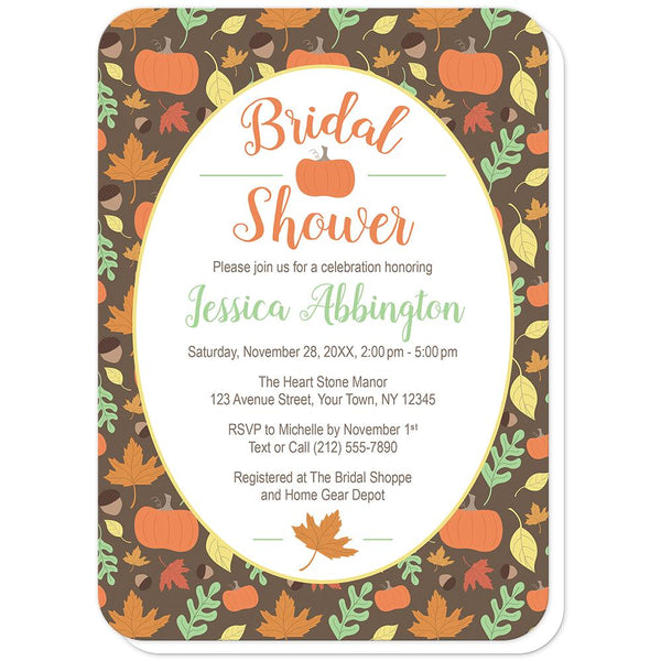 Autumn Pumpkins and Leaves Pattern Bridal Shower Invitations (rounded corners) at Artistically Invited