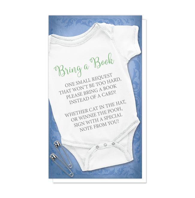 "Blue Bodysuit Bring a Book Cards - Baby Bodysuit and Safety Pins Blue ""Bring a Book"" Cards at Artistically Invited"