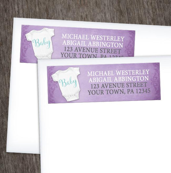 Baby Bodysuit on Purple Address Labels at Artistically Invited