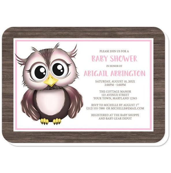 Owl Baby Shower Invitations - Adorable Owl Pink and Brown Baby Shower Invitations (rounded corners) at Artistically Invited