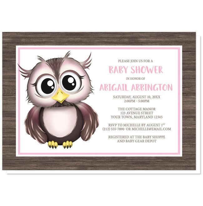 Adorable Owl Pink And Brown Baby Shower Invitations Online At