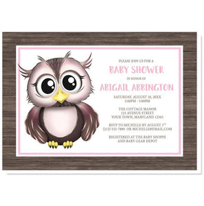 Adorable Owl Pink and Brown Baby Shower Invitations