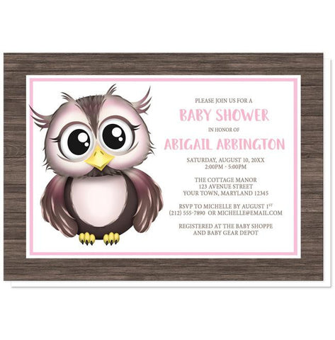 Owl Baby Shower Invitations - Adorable Owl Pink and Brown Baby Shower Invitations at Artistically Invited