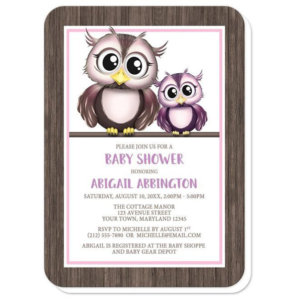Adorable Owls Pink and Purple Baby Shower Invitations - rounded corners