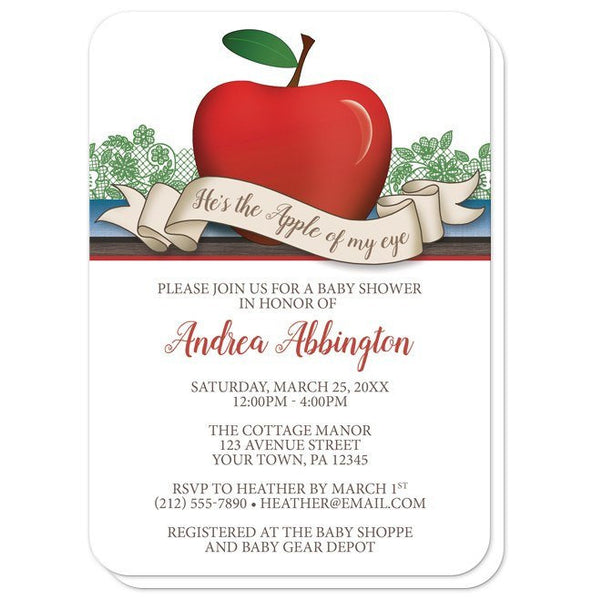 Baby Shower Invitations - Boy Red Apple of My Eye - rounded corners