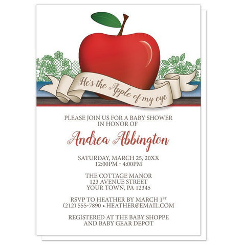 Baby Shower Invitations - Boy Red Apple of My Eye