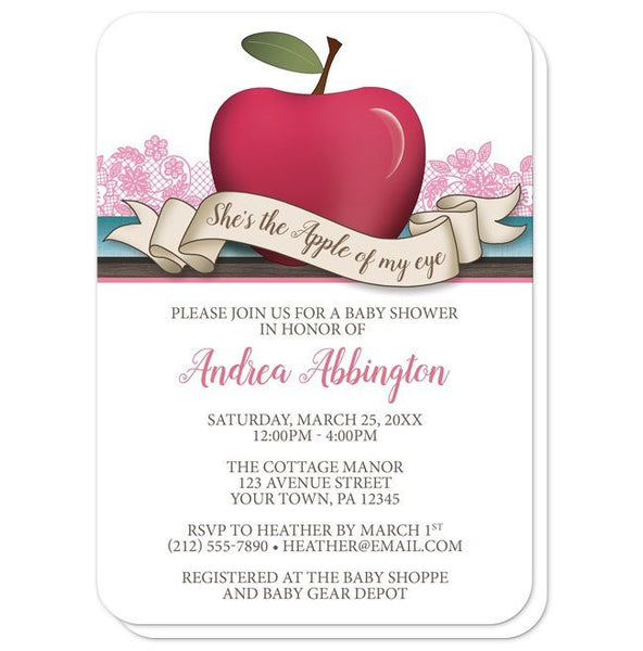 Baby Shower Invitations - Girl Pink Apple of My Eye - Rounded Corners