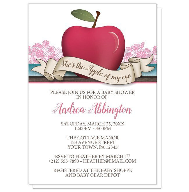 Girl Pink Apple of My Eye Baby Shower Invitations at  Artistically Invited