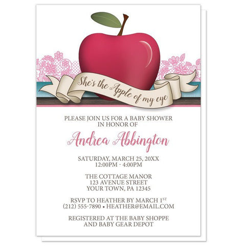 Baby Shower Invitations - Girl Pink Apple of My Eye
