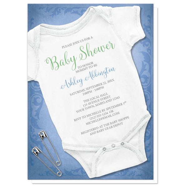 Bodysuit Baby Shower Invitations - Baby Bodysuit and Safety Pins Blue Baby Shower Invitations at Artistically Invited