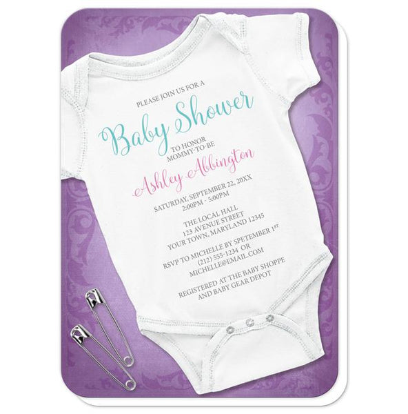 Baby Bodysuit and Safety Pins Purple Baby Shower Invitations - rounded corners