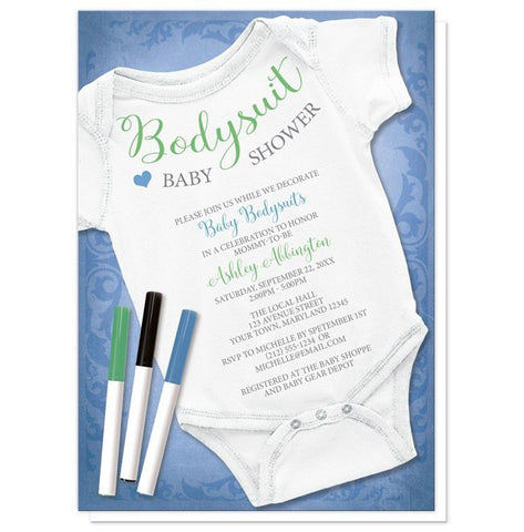 Baby Shower Invitations - Blue Decorating Activity Baby Bodysuit