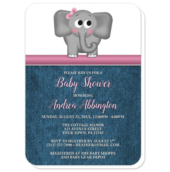 Cute Elephant Pink Rustic Denim Baby Shower Invitations - Artistically Invited