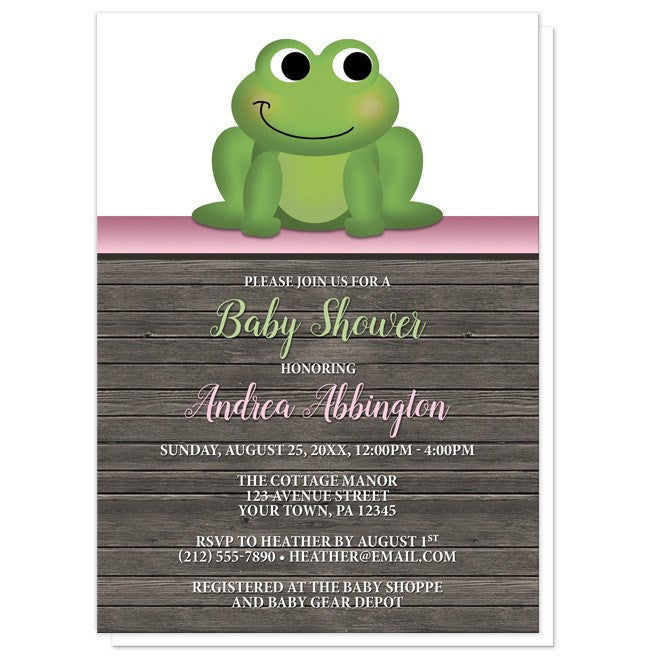 Cute Froggy Green Pink Rustic Wood Baby Shower Invitations - Artistically Invited