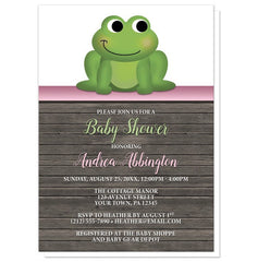Baby Shower Invitations - Cute Froggy Green Pink Rustic Wood
