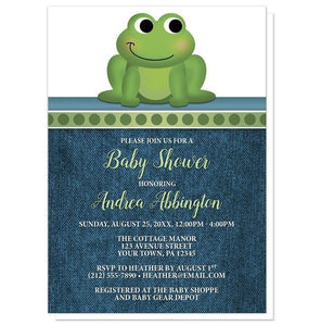 Cute Froggy Green Rustic Denim Baby Shower Invitations - Artistically Invited