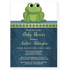 Baby Shower Invitations - Cute Froggy Green Rustic Denim