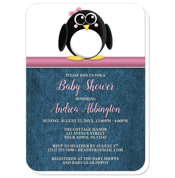 Cute Penguin Pink Rustic Denim Baby Shower Invitations - Artistically Invited