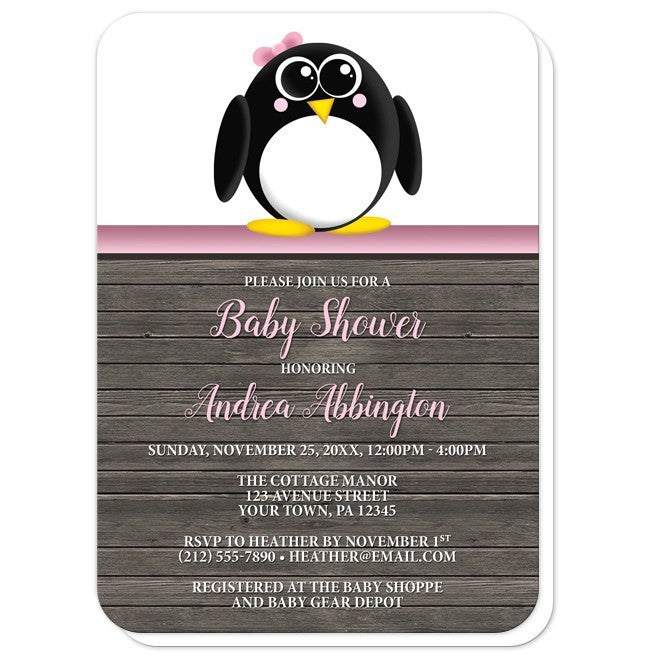 Cute Penguin Pink Rustic Wood Baby Shower Invitations at  Artistically Invited