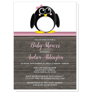 Cute Penguin Pink Rustic Wood Baby Shower Invitations - Artistically Invited