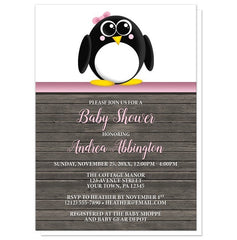Baby Shower Invitations - Cute Penguin Pink Rustic Wood