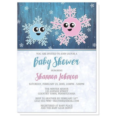 Cute Snowflake Rustic Winter Boy Baby Shower Invitations - Artistically Invited